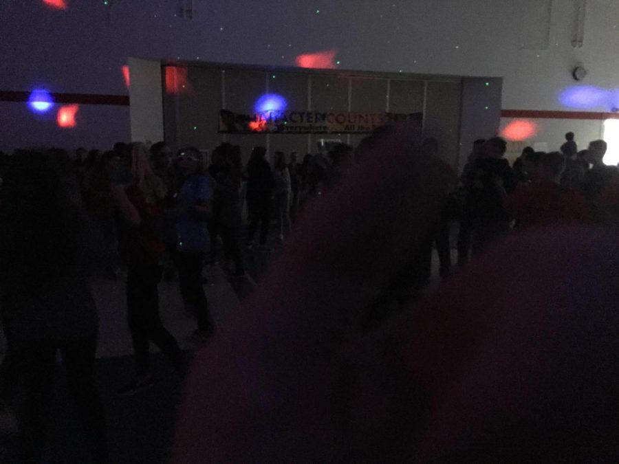 PC students dancing in the dark.