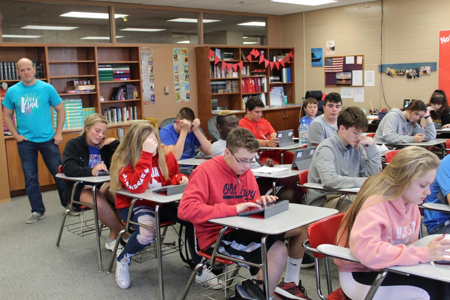 Matthew Fulton worked in Mrs. Hartwig's English class, studying up on reading and writing.