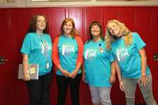 Mrs. Jennings, Mrs. Hartwig, Mrs. Janda, and Mrs. Gufstason posed in their Be Kind shirts on the first day of school.