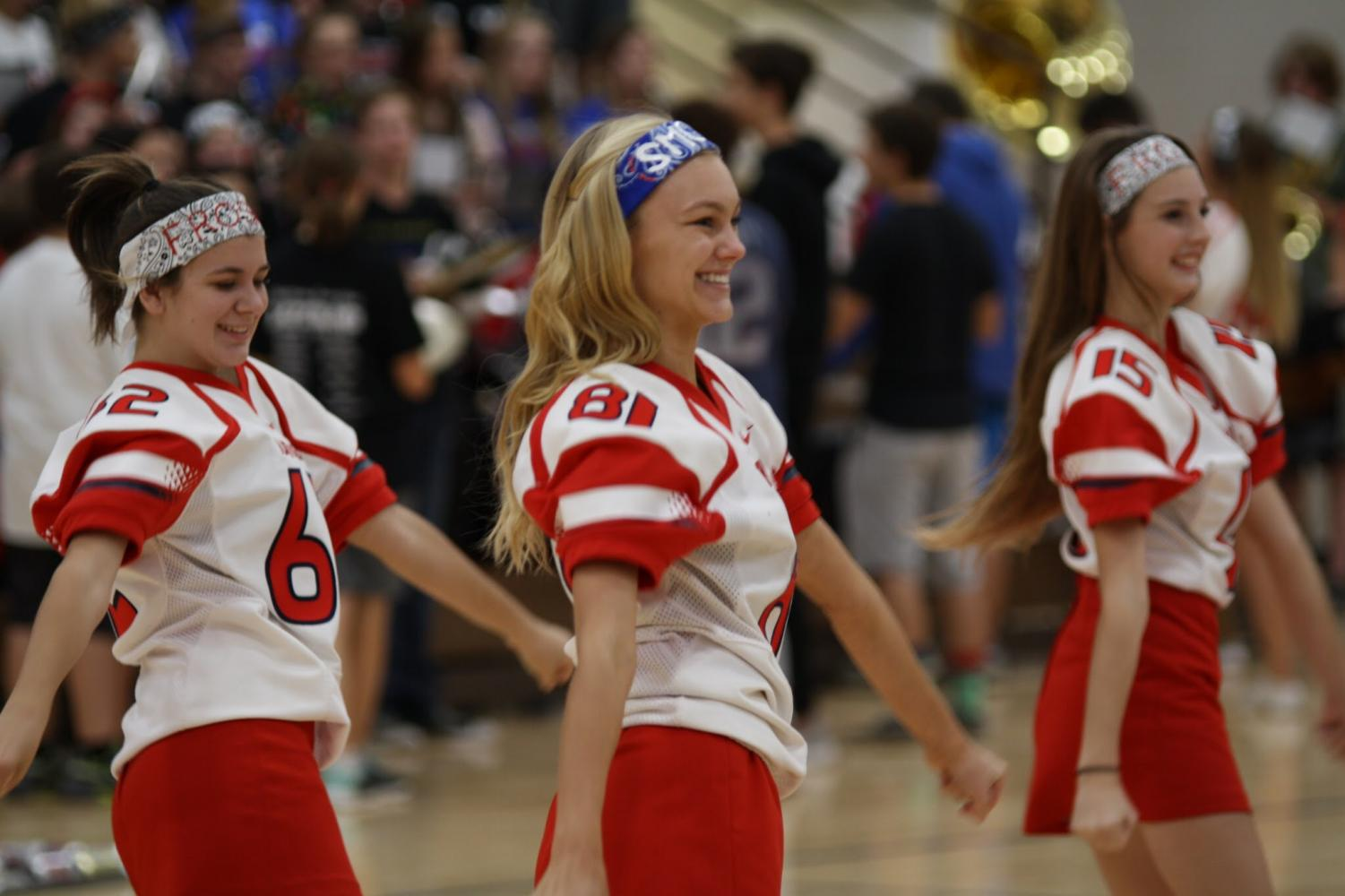 Platteview cheerleaders spread their school spirit at the 2017-2018 pep rally.