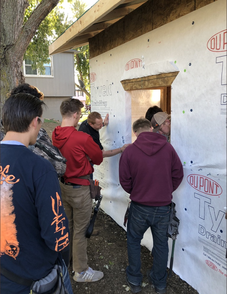 Platteview students worked together to construct a building for the community.