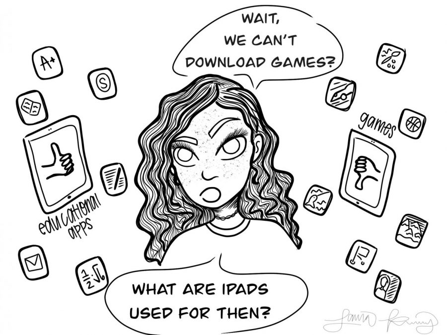 This comic, illustrated by Laura Kinney, shows what a lot of students at PHS may be thinking due to the changes in the iPad policies.