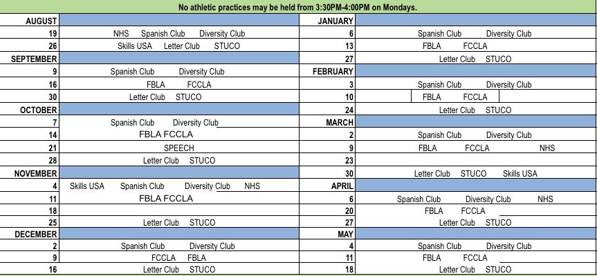 PHS Club Meeting Schedule 2019-2020