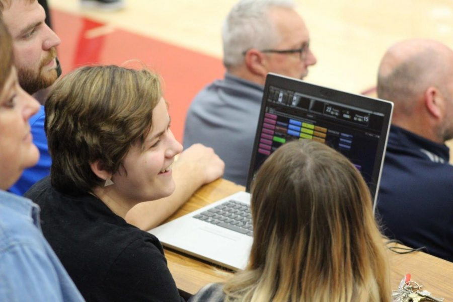 Seniors+Pruett+Newton+and+Daytin+Inserra%2C+members+of+the+TrojanVision+Crew%2C+learned+how+to+use+the+new+video+boards+for+basketball+games.