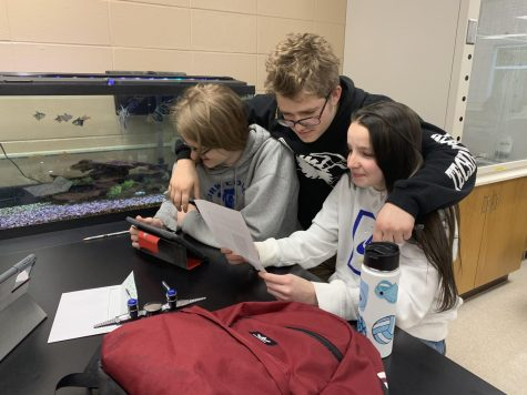 Junior Chloe Adams (right) studies with fellow juniors Dustin Benedict and Maverick Jensen. In this article, Adams shared what her favorite comfort food is.