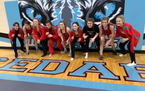 Brianna Miller (11), Piper Penney-Hall (9), Lexi Adams (10), Kylee Burkhart (12), Kayla Jeffrey (9), Haley Haack (10), Katie Campbell (10), Phoenix Jensen (9), and Kennedy Karschner (9) all get into wrestling position together at Cedar Bluffs in December.