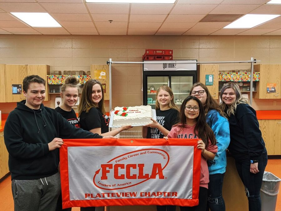 """The Platteview FCCLA Chapter celebrated FCCLA Week 2020 by having a birthday party to celebrate the CTE Organization's establishment. Senior Mallory Kern says,  """"It's starting to become a tradition with the Platteview Chapter, a great way to bring our  'FCCLA Family' together."""""""