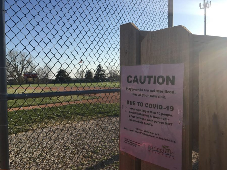 Due to COVID-19, spring sports have been cancelled at Platteview High School. The baseball field where Trojan Baseball players practice is left vacant.