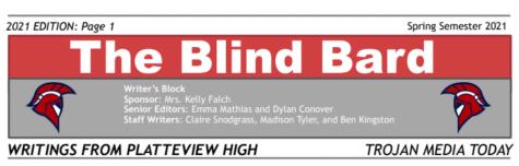 "Writers Block Literary Journal - Spring 2021 - ""The Blind Bard"""