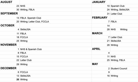 Clubs, Activities 2021-2022 Schedule